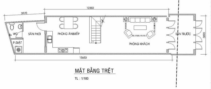 Thiết kế nhà phố hiện đại 4 tầng 3