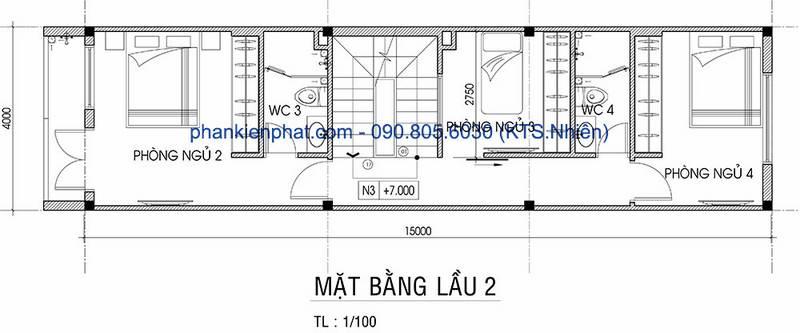 Mặt bằng lầu 2 nhà phố 4 tầng diện tích 4x15m
