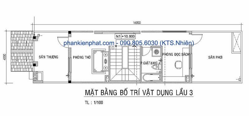 Mặt bằng lầu 3 nhà phố diện tích 4x16m