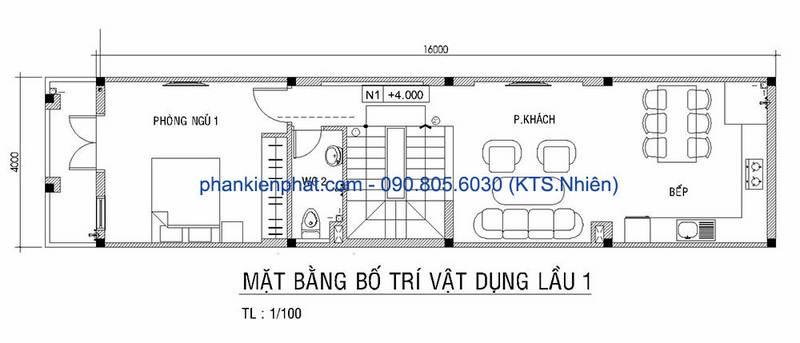 Mặt bằng lầu 1 nhà phố 4 tầng diện tích 4x16m