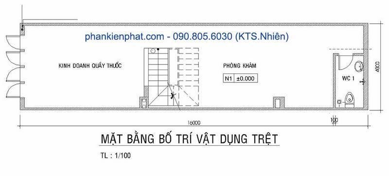 Mặt bằng tầng trệt nhà phố 4 tầng diện tích 4x16m tại Long An